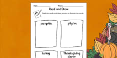 Thanksgiving Read and Draw Activity Sheet