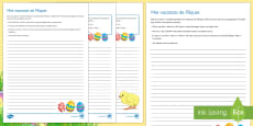 My Easter Holiday Writing Activity Sheet - French