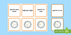 * NEW * Reading the Time Matching Cards