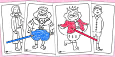 The Emperor's New Clothes Colouring Sheets