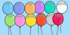 Editable Month Balloons Arabic Translation
