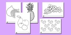 Fruit Themed Colouring Sheets