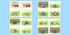 The Three Little Pigs Story Sequencing 4 per A4 Polish Translation