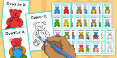 Describe It Colour It Teddy Game
