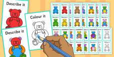 Describe It Colour It Teddy Game