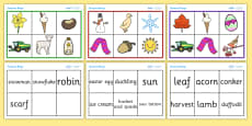 Seasonal Bingo and Sorting Activity
