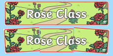 Rose Themed Classroom Display Banner