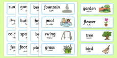 Garden Word Cards Arabic Translation