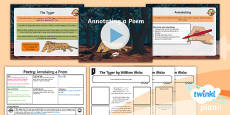 * NEW * PlanIt Y6 Animals: The Tyger Lesson Pack to Support Teaching on The Tyger by William Blake Lesson One