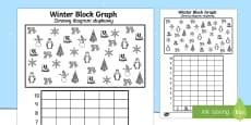 Winter Themed Colour, Count and Graph Activity Sheet Polish/English
