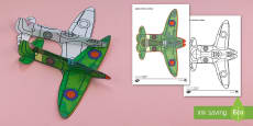 Simple WW2 Spitfire Glider Activity Paper Craft