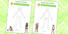 Adam and Eve Clothes Design Activity Sheets