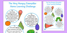 EYFS Nursery FS1 Home Learning Challenge Sheet to Support Teaching on The Very Hungry Caterpillar