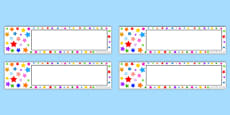 Multi-coloured Stars Editable Gratnell Tray Labels