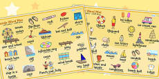 Seaside Word Mat Arabic Translation