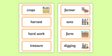 The Farmer and His Sons Word Cards