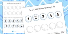 Cut and Stick Number Ordering Snowball Activity 1-10