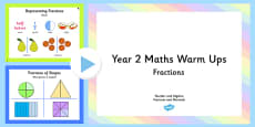 Year 2 and 3 Fractions Warm Ups PowerPoint