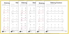 Year 5 Ordering Fractions Activity Sheet