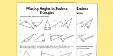 Calculating Angles of Scalene Triangles Activity Sheet