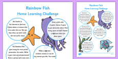 Reception FS2 Home Learning Challenge Sheet to Support Teaching on The Rainbow Fish