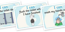 Toilet 'I Can' Display Signs