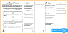Year 2 Maths Multiplication Word Problems Homework Go Respond Activity Sheet