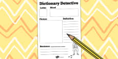 Dictionary Detective Worksheet