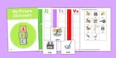 Picture Dictionary Cooking Word Cards