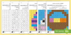 * NEW * Mozaic de Paște -  Rezolvă exercițiile și colorează după codul culorilor - Fișe diferențiate