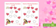 Valentine's Day Hearts Missing Numbers to 10 Activity Sheet