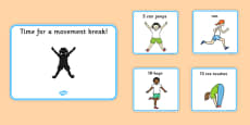 Time For A Movement Break Visual Support Cards