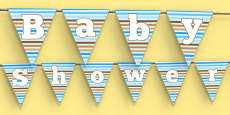 Baby Shower Bunting Blue Themed
