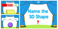 Name the 3D Shape Year 2 PowerPoint Quiz