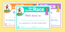 Sports Day Mini Hurdles Race Certificates