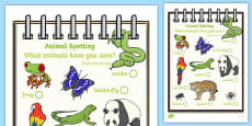 Rainforest Explorer Role Play Animal Spotting Form