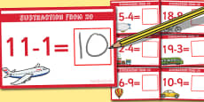 Subtraction From 20 Cards