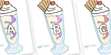 A-Z Alphabet on Ice Cream Sundaes