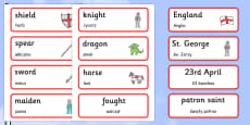 St George\'s Day Topic Cards Polish Translation