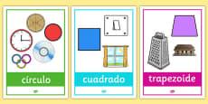 Formas geométricas 2D - póster con ejemplos en la vida cotidiana