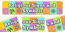 Religious Signs and Symbols Display Banner
