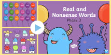 * NEW * Phase 3 Phonics Real and Nonsense Words Popping PowerPoint