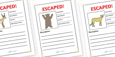 Escaped Animal Writing Frames