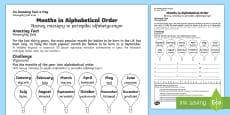 * NEW * Months in Alphabetical Order Activity Sheet English/Polish
