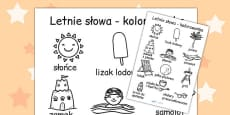 Polish Summer Differentiated Words Colouring Sheet