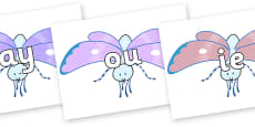 Phase 5 Phonemes on Blue Butterfly to Support Teaching on The Crunching Munching Caterpillar
