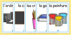 Classroom Objects Display Posters French