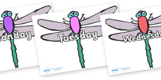 Days of the Week on Dragonflies