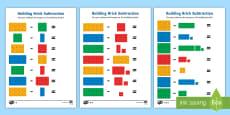 Building Brick Subtraction Activity Sheets