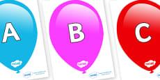 A-Z Alphabet on Balloons
